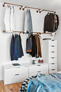Diy wardrobe no closet bedroom, clothes rack bedroom, diy clothes storage, wall clothing Bedroom Storage Ideas For Clothes, Diy Clothes Rack, Clothing Storage, Clothing Racks, Clothes Hangers, Open Clothes Storage, Diy Clothes Closet, Small Closet Storage, Cheap Clothes