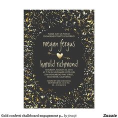 Gold confetti chalkboard engagement party