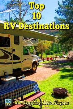 """Top 10 RV Destinations--pinning this for opposite reason of most folks. As a couple of """"hermits"""" these would be 10 places to avoid. Also, as most popular destinations, I assume that equals crowded, reservations must be made long range, and inflated fees. Camping Places, Camping Life, Rv Life, Camping Stuff, Camping Spots, Family Camping, Rv Campgrounds, Camping Checklist, Camping Ideas"""