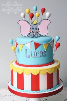 Dumbo Theme Birthday Cake by K Noelle Cakes - cake . - Birthday Cake Easy Ideen - first birthday cake-Erster Geburtstagskuchen Carnival Birthday Cakes, Circus Theme Cakes, Dumbo Birthday Party, Boys First Birthday Cake, Carnival Cakes, Baby Birthday Cakes, Disney Birthday, Circus Party, Circus Wedding