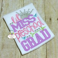 Little Miss PreSchool Grad Shirt, School Graduation, PreSchool Graduation, Graduation, Graduation 2016, Girl PreSchool Graduation, Pre-K by GingerLyBoutique on Etsy
