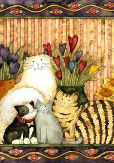 Cats in the Parlor - Decorative Art Flag from Toland Home Garden