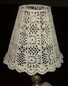 crochet_lampshade No pattern, just an idea Lampe Crochet, Crochet Lampshade, Crochet Curtains, Crochet Doilies, Crochet Lace, Crochet Decoration, Crochet Home Decor, Crochet Crafts, Crochet Projects