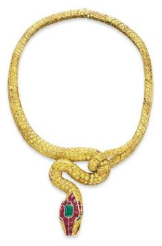 A Colored Diamond, Ruby and Emerald Serpent Necklace, By Carvin French