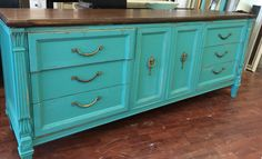 """This is one of those really long versatile pieces that could be used as a dresser or a buffet or a tv stand. I painted it a bluish green with a stained top. What do you think?  The dimensions are 77"""" L, 19"""" W, 32"""" H. SOLD!! for $425"""