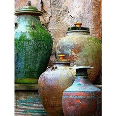 I love the textured look of the pots and how the bright colours are toned down by that texture, but still have that colourful feel to it.