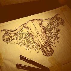 Done by Antonio Mobili, tattooist based in Madrid, Spain Bull Skull Tattoos, Bull Skulls, Animal Skulls, Body Art Tattoos, New Tattoos, Stomach Tattoos, Tattoo Design Drawings, Tattoo Sketches, Tattoo Designs