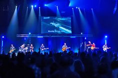 """Revolution Church - """"The main sanctuary, which contains 750 seats, features a stage and large Da-lite screen illuminated by a Digital Projection International (DPI) lumen E-Vision 8000 projector. Digital Projection, Church Stage Design, Worship, Scenery, Houses, Projectors, Revolution, Larger, Design Ideas"""