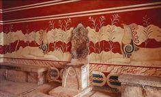 Palazzo di Cnosso, veduta dal Palazzo del Trono, ca 1700-1400 a.C. Pittura parietale e trono in alabastro