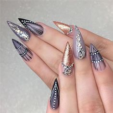 Acrylic Stiletto Nails Designs You May Love In Summer - Nail Art Connect Bright Red Nails, Pink Nails, Fabulous Nails, Gorgeous Nails, Pretty Nails, Sassy Nails, Modern Nails, Stiletto Nail Art, Finger