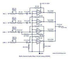 Multi-channel-audio-mixer-circuit