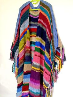 Poncho, Long poncho, Handknit Womens Mens coverup, Bohemian Festival Hippie Beach,X-large, Fringed striped Gaucho poncho, Burning Man Ibiza Goa One size Length - 110 cm width - 150 cm Be sure, youll never see the same poncho around you and anywhere! It makes you exclusive, unique, original and stylish like no one around you! *** All things are hand made by me in a smoke-free and pet-free apartment, washed with neutral detergent and are ready to use/wear. Care instructions: Hand wash ...