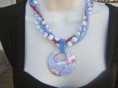 Peyote Beadwork 5 Strand Necklace Beaded Painted by purplesage333