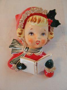 Vintage Norcrest Singing Girl Spaghetti Trim Holly P 340 Wall Pocket Christmas
