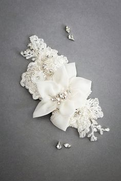 Silk and lace bridal headpiece