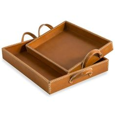 of 2 Greer Leather Trays, Tan, Each covered in supple tan leather with exposed stitching details, these trays feel both sophisticated and accessible. Leather Accessories, Home Decor Accessories, Bridal Accessories, Decorative Accessories, Accessories Online, Bathroom Accessories, Leather Tray, Tan Leather, Leather Projects