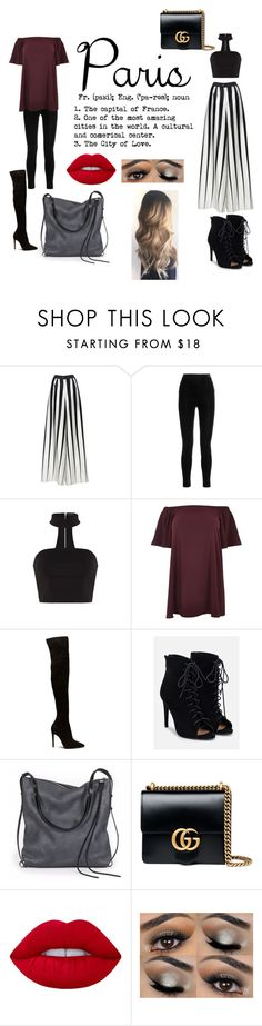 """""""Untitled #108"""" by livviie ❤ liked on Polyvore featuring Tome, Balmain, River Island, JustFab, Ina Kent, Gucci and Lime Crime"""