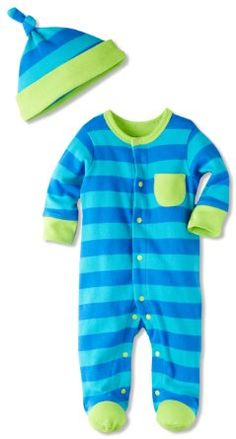 Amazon.com: Offspring - Baby Apparel Baby-Boys Newborn Offspring Two Blues Stripe Footie With Hat: Clothing