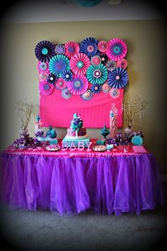 "Photo 1 of 23: Pink purple turquoise, It's a girl / Baby Shower/Sip & See ""Baby shower with touch of glamour"""