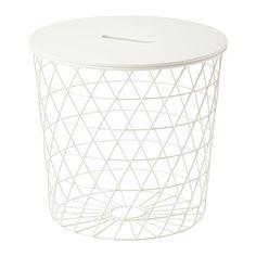 IKEA - KVISTBRO, 収納テーブル, ホワイト, , ひざ掛けや枕から、新聞や毛糸までなんでも収納できます。あえて何もいれず、広々とした雰囲気を演出してもよいかもテーブルトップに指を入れる穴が開いているので、さっと取り外してよく使うものをバスケットに収納できます風通しのよいデザイン。ソファの前から、お気に入りのアームチェアの前に移動するのも簡単ですコーヒーテーブル、サイドテーブル、ベッドサイドテーブルとして、家じゅうどこでも使えます