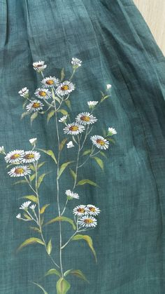 [천아트 금아갤러리]Moshichima jeogori's forget-me-not flower … Fabric Colour Painting, Dress Painting, Fabric Painting, Fabric Art, Hand Painted Sarees, Hand Painted Fabric, Embroidery Stitches, Embroidery Patterns, Fabric Paint Shirt