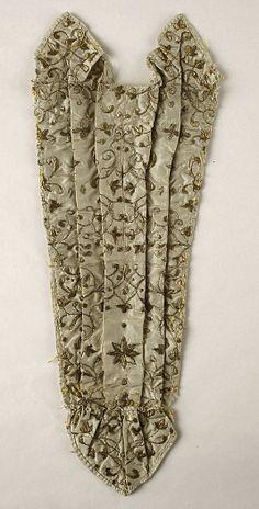 Silk Stomacher with metallic embroidery 18th century British