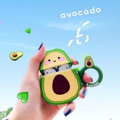 Kawaii Avocado Design Protective Case for Airpods 1 2 - Kawaii ositos Cool Phone Cases, Iphone Phone Cases, New Iphone, Airpods Apple, Kawaii Shirts, Kawaii Bags, Earphone Case, Airpod Case, Pink Cat