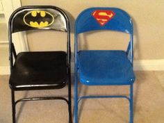 Superman and Batman super hero spray painted metal folding chair. Up cycled chair.