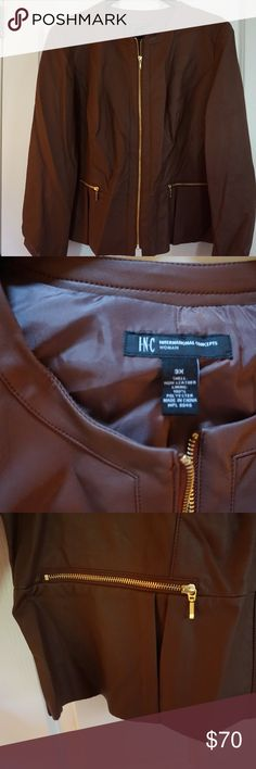 NWT Brown non Leather INC. Coat This is a NWT stylish, brown non-leather coat (that fills and looks like leather) with polyester lining INC. jacket in a size 3X. It has a golden zipper up the front and over the front two pockets. It is pleaded around the hips to add to the stylish look. Bundle this item with other items from my closet for a discount…or make me an offer as all are considered. (T2) INC International Concepts Jackets & Coats