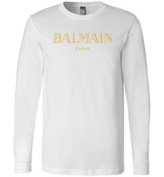 51340fa2fee awesome Balmain Gold Logo Long Sleeve T-Shirt Gucci Hoodie Mens