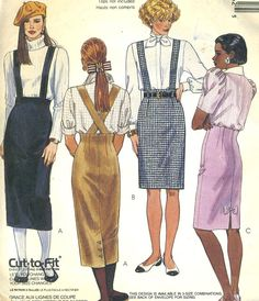 Vintage McCalls 4526 UNCUT Misses Suspender Straight Skirt with Fitted WaistlineSkirt Sewing Pattern Size Skirt Patterns Sewing, Vintage Sewing Patterns, Skirt Sewing, Clothing Patterns, Fashion Books, 80s Fashion, Vintage Fashion, 20th Century Fashion, Flirt