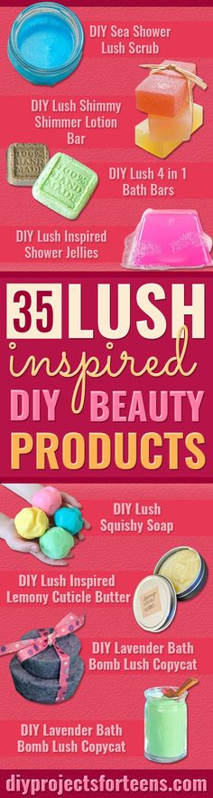 DIY Lush Inspired Recipes - How to Make Lush Products like Bath Bombs, Face Masks, Lip Scrub, Bubble Bars, Dry Shampoo and Hair Conditioner, Shower Jelly, Lotion, Soap, Toner and Moisturizer. Copycat and Dupes of Ocean Salt, Buffy, Dark Angels, Rub Rub Rub, Big, Dream Cream and More.