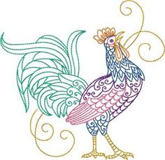 Rooster 1 (KK1615) Embroidery Design by Kinship Kreations - for purchase