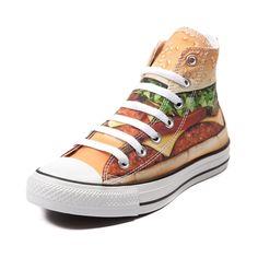 Shop for Converse All Star Hi Cheeseburger Sneaker in Cheeseburger at Journeys Shoes. Shop today for the hottest brands in mens shoes and womens shoes at Journeys.com.Charbroiled deliciousness has a taste for the original Old School. Now available only at Journeys, this Converse All Star Hi Cheeseburger sneaker features big time flavor with a cheeseburger print canvas upper, white contrast lace closure, and durable rubber sole. Available only at Journeys!