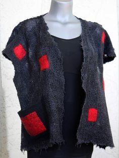 Nuno felted eco friendlyfashion summer sleeveless vest top handmade unique size M - L silk merino women black gray red transparent wearable