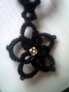 Tatted black necklace with flower pendant