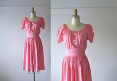 vintage 1940s dress / 40s dress / Sweet Watermelon by Dronning