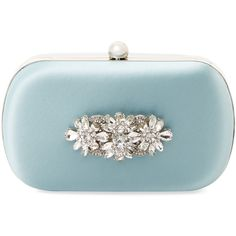 Badgley Mischka Women's Embellished Satin Round Clutch - Light/Pastel... ($139) ❤ liked on Polyvore featuring bags, handbags, clutches, round purse, satin purse, satin clutches, clasp purse and blue purse