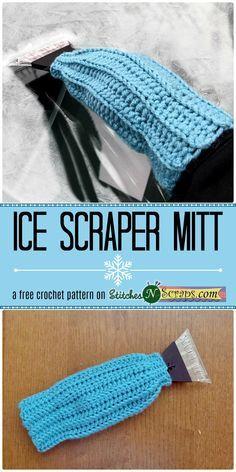 Ice Scraper Mitt - a free crochet pattenr on StitchesNScraps.com