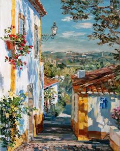 Landscape Art, Landscape Paintings, Mediterranean Art, Paintings I Love, Environmental Art, Oeuvre D'art, Art Oil, Art Inspo, Watercolor Paintings