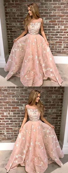 A-Line Round Neck Pink Tulle Prom Dress with Appliques Lace G386