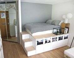 Bedroom: Platform Storage Bed With Sorage Under Combined With Simple Platform Bed And Wooden Nightstand: Creative DIY Storage Beds for additional Space plus Organization for your Bedroom
