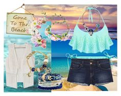 """""""Summer Beach Party"""" by marshmallowkuini ❤ liked on Polyvore featuring Faliero Sarti, H&M, J Brand, Miss Selfridge, Miss Me, Domo Beads and Betsey Johnson"""