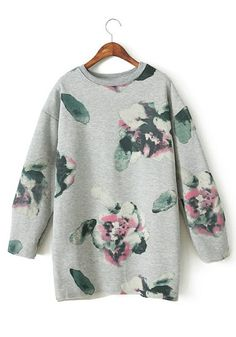 Grey Floral Bat Sleeve Loose Cotton Blend Sweatshirt