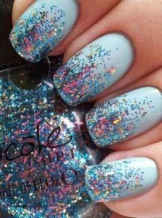 Pale blue glitter nails