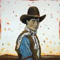 #LifestyleInspirator for art. #cowboypainting #RyanCunninghamArt ~ Cowboy + the Cosmos by Ryan Cunningham http://modelbehaviors.com/qa-with-artist-ryan-cunningham/