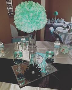 Tiffany and Co themed bridal shower centerpieces