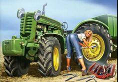 artist Olga and Aleksey Drozdov. The Di .- Come devonki … artist Olga and Aleksey Drozdov. The Discussion on Liveinternet – Russian Service Online Diaries - Old John Deere Tractors, Big Tractors, Farmall Tractors, Antique Tractors, Vintage Tractors, Tractor Decor, Farm Humor, Up Auto, Pin Up Girl Tattoo