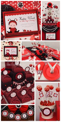 Red Ladybug Birthday Party  printable decoration by www.leelaaloo.com