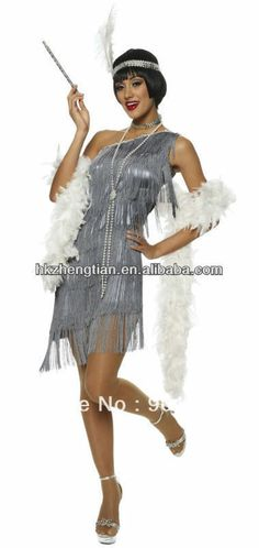 FREE SHIPPING S-2XL 459 Dazzling Grey Flapper Costume with White Feather fancy dress costume $32.55